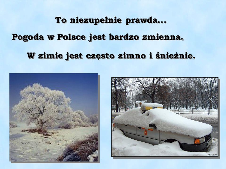 . Pogoda w Polsce jest bardzo zmienna. W zimie jest często zimno i śnieżnie. To niezupełnie prawda...
