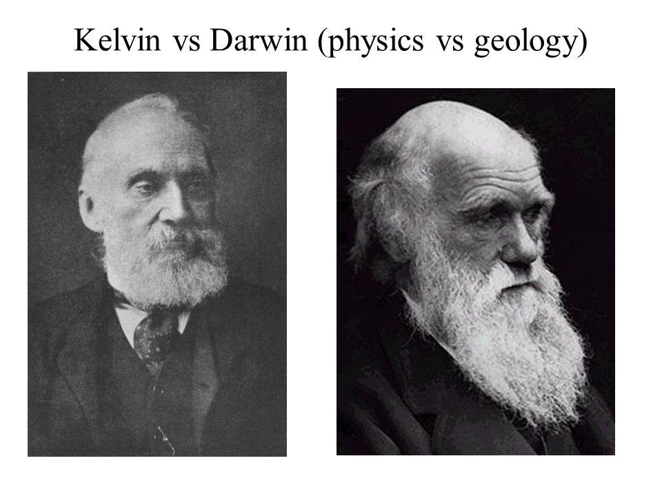 Kelvin: Słońce i Ziemia powstały równocześnie Słońce wyświeca energię termiczną (efekt kontrakcji) Tej energii starczy na 30 mln lat Darwin: Erozja skorupy ziemskiej wymaga co najmniej 300 mln lat W takim czasie może działać ewolucja