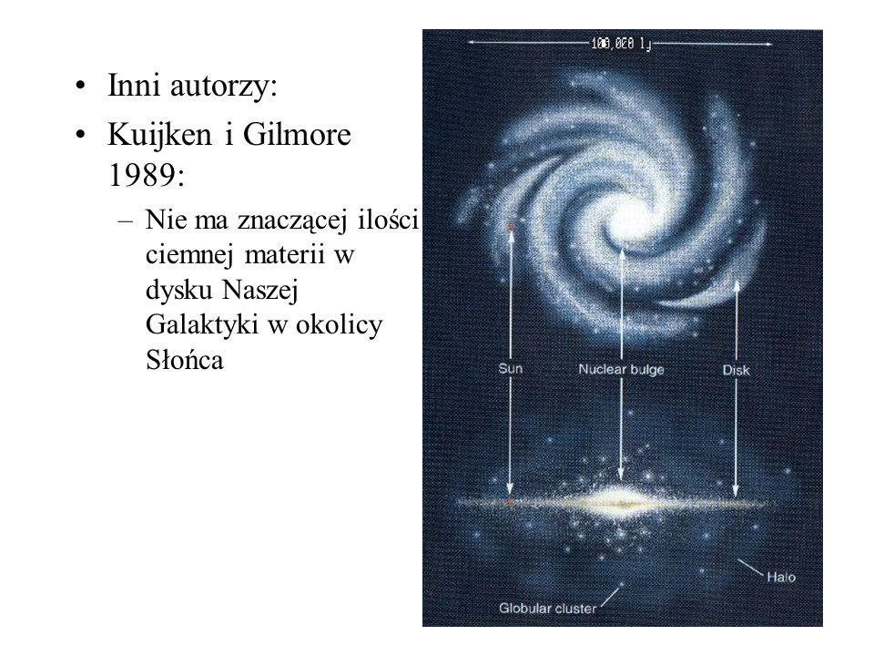 Inni autorzy: Kuijken i Gilmore 1989: –Nie ma znaczącej ilości ciemnej materii w dysku Naszej Galaktyki w okolicy Słońca