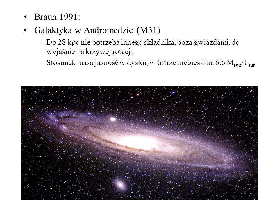 Braun 1991: Galaktyka w Andromedzie (M31) –Do 28 kpc nie potrzeba innego składnika, poza gwiazdami, do wyjaśnienia krzywej rotacji –Stosunek masa jasność w dysku, w filtrze niebieskim: 6.5 M sun /L sun