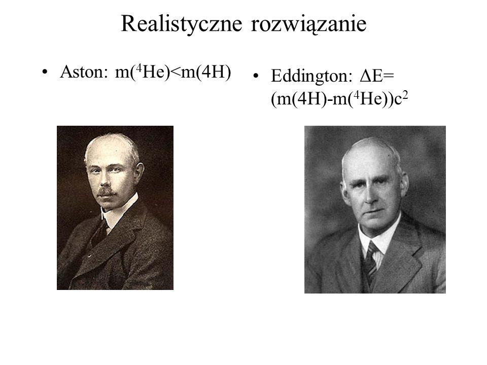 Realistyczne rozwiązanie Aston: m( 4 He)<m(4H) Eddington: ΔE= (m(4H)-m( 4 He))c 2