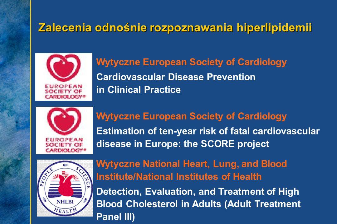 Zalecenia odnośnie rozpoznawania hiperlipidemii Wytyczne European Society of Cardiology Cardiovascular Disease Prevention in Clinical Practice Wytyczn