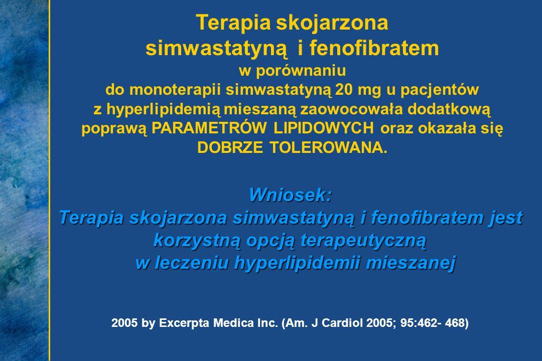 Terapia skojarzona simwastatyną i fenofibratem w porównaniu do monoterapii simwastatyną 20 mg u pacjentów z hyperlipidemią mieszaną zaowocowała dodatk