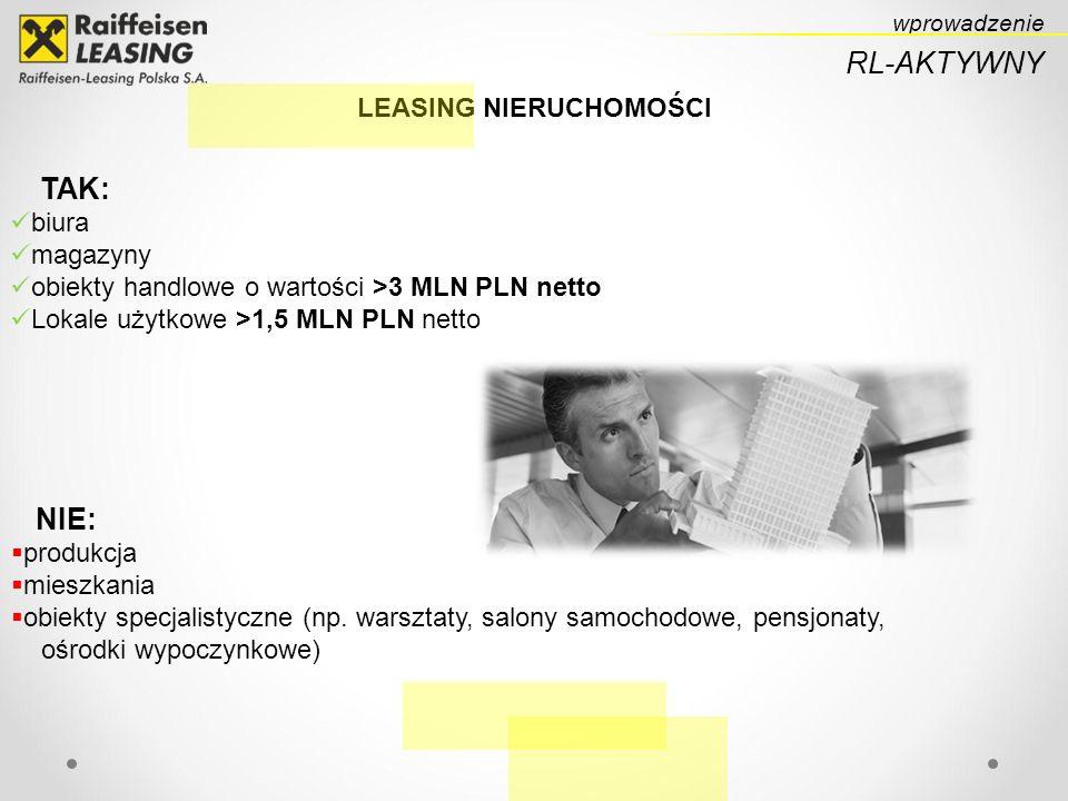 wprowadzenie RL-AKTYWNY LEASING NIERUCHOMOŚCI TAK: biura magazyny obiekty handlowe o wartości >3 MLN PLN netto Lokale użytkowe >1,5 MLN PLN netto NIE: produkcja mieszkania obiekty specjalistyczne (np.