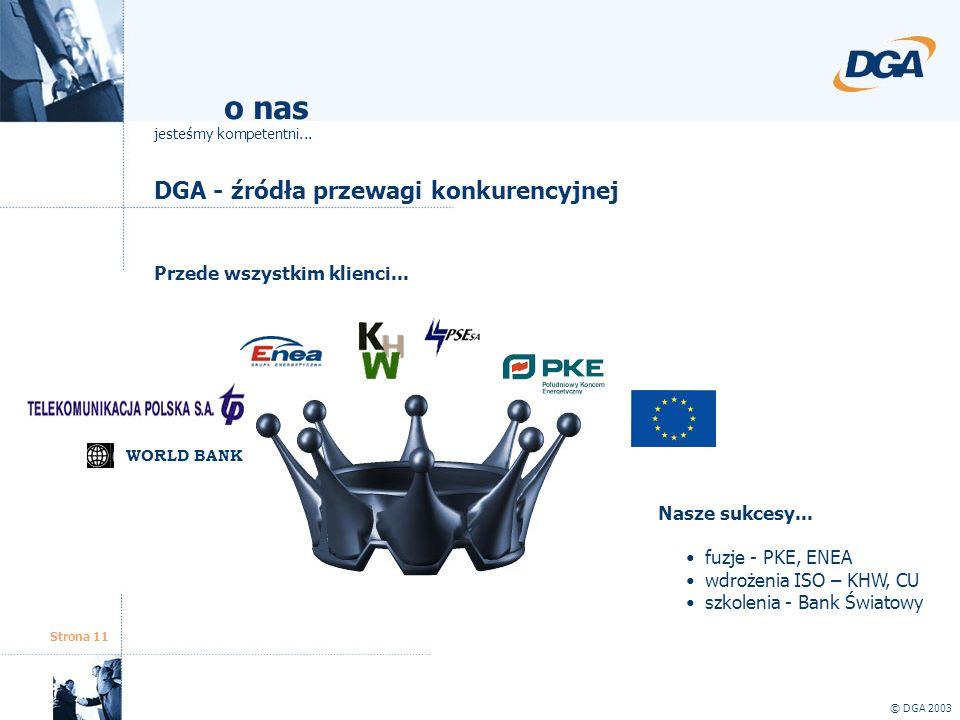 Strona 11 DGA - źródła przewagi konkurencyjnej © DGA 2003 o nas jesteśmy kompetentni... Przede wszystkim klienci... Nasze sukcesy... fuzje - PKE, ENEA