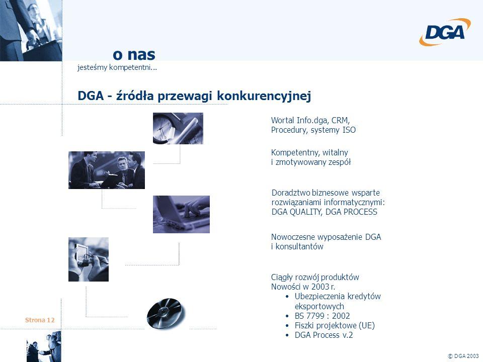 Strona 12 DGA - źródła przewagi konkurencyjnej © DGA 2003 o nas jesteśmy kompetentni... Kompetentny, witalny i zmotywowany zespół Nowoczesne wyposażen