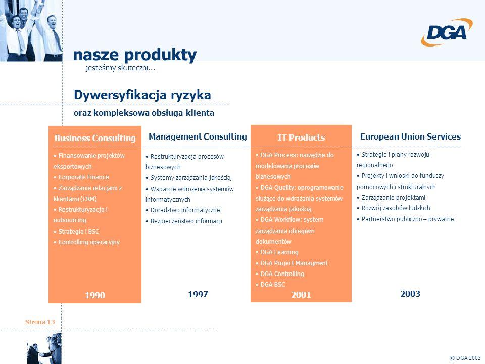Strona 13 Dywersyfikacja ryzyka © DGA 2003 oraz kompleksowa obsługa klienta Management Consulting Restrukturyzacja procesów biznesowych Systemy zarząd