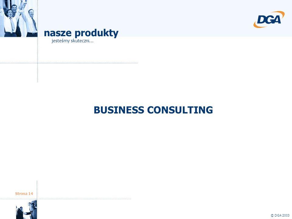 Strona 14 © DGA 2003 BUSINESS CONSULTING nasze produkty jesteśmy skuteczni...