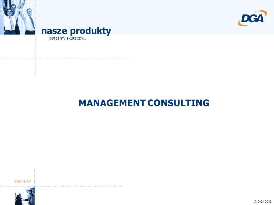 Strona 17 © DGA 2003 MANAGEMENT CONSULTING nasze produkty jesteśmy skuteczni...