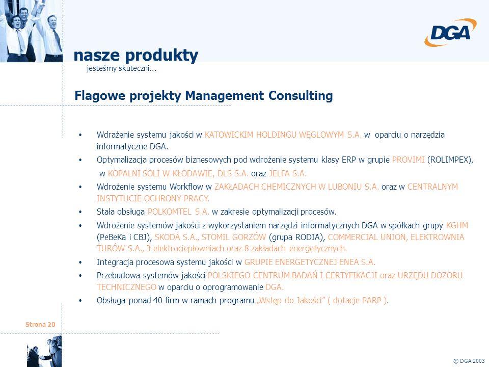 Strona 20 © DGA 2003 Flagowe projekty Management Consulting Wdrażenie systemu jakości w KATOWICKIM HOLDINGU WĘGLOWYM S.A. w oparciu o narzędzia inform