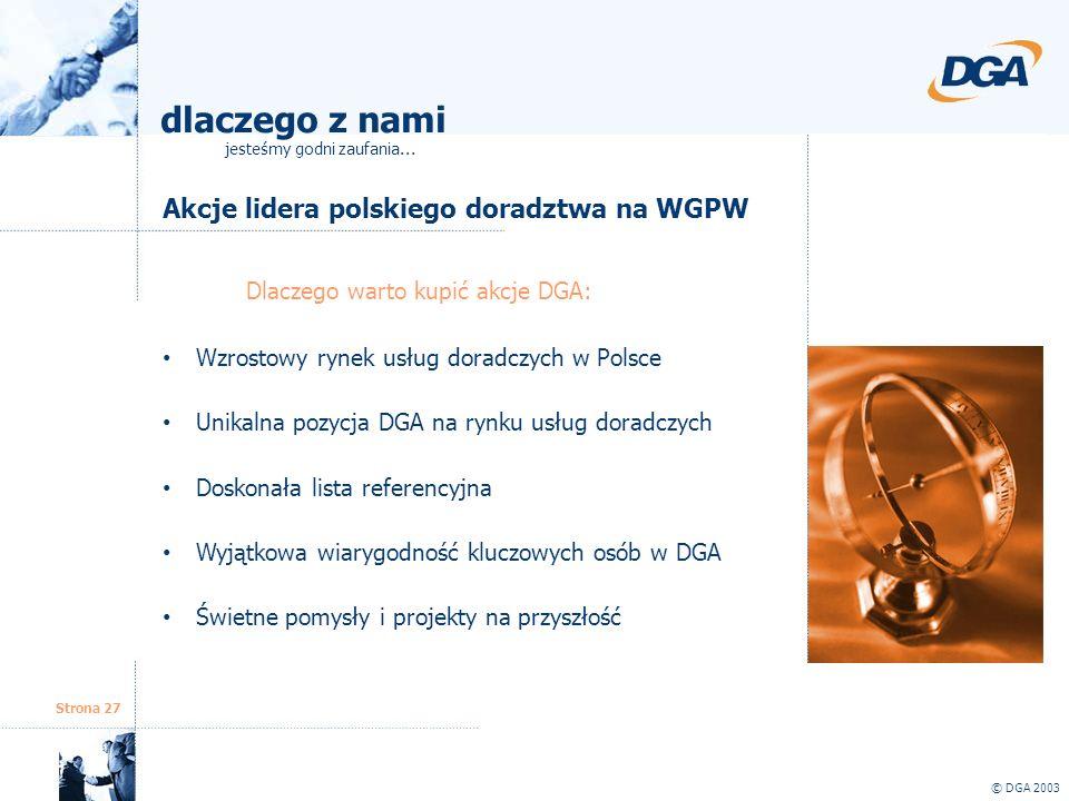 Strona 27 Akcje lidera polskiego doradztwa na WGPW © DGA 2003 Dlaczego warto kupić akcje DGA: Wzrostowy rynek usług doradczych w Polsce Unikalna pozyc