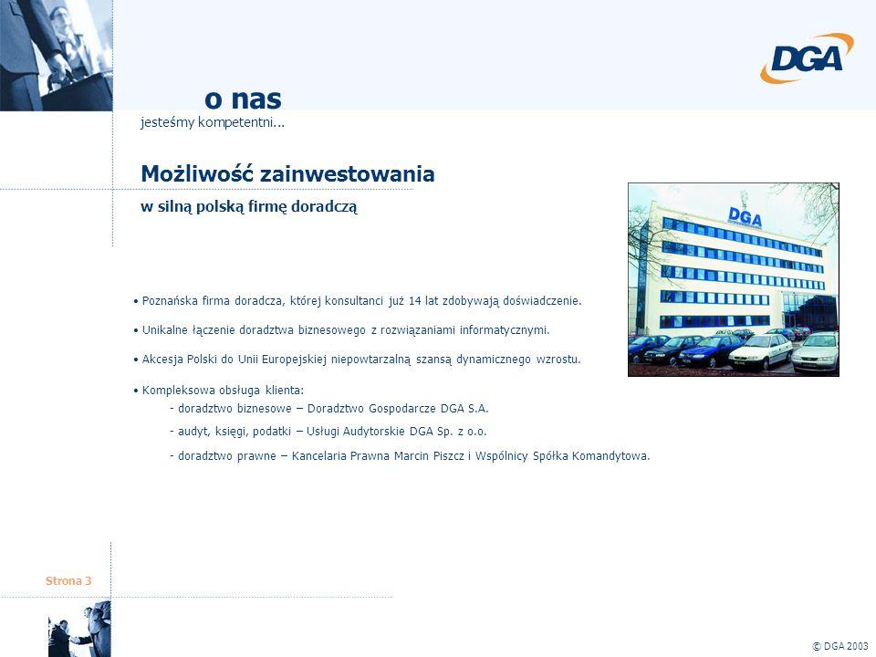 Strona 3 Możliwość zainwestowania w silną polską firmę doradczą © DGA 2003 Poznańska firma doradcza, której konsultanci już 14 lat zdobywają doświadcz