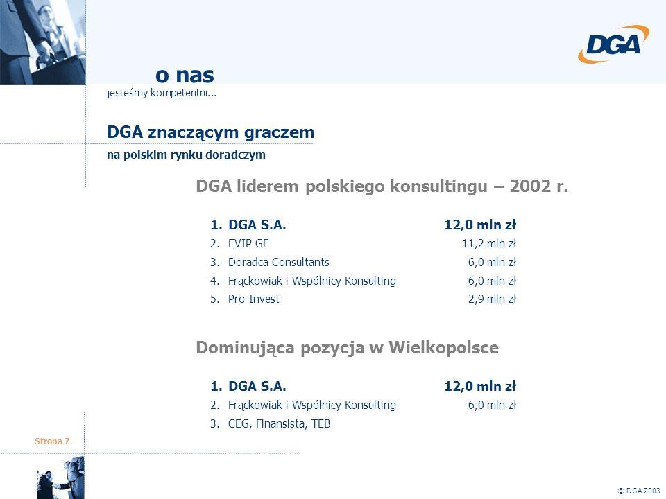 Strona 7 © DGA 2003 o nas jesteśmy kompetentni... DGA znaczącym graczem na polskim rynku doradczym DGA liderem polskiego konsultingu – 2002 r. 1.DGA S