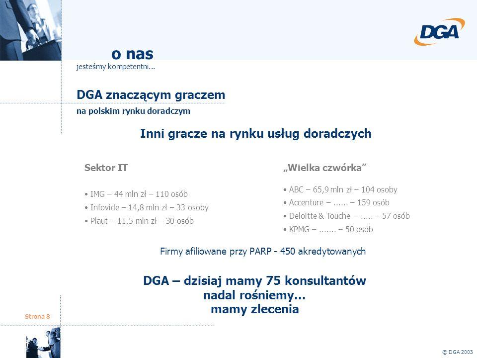 Strona 8 DGA znaczącym graczem © DGA 2003 o nas jesteśmy kompetentni... na polskim rynku doradczym Inni gracze na rynku usług doradczych Sektor IT IMG