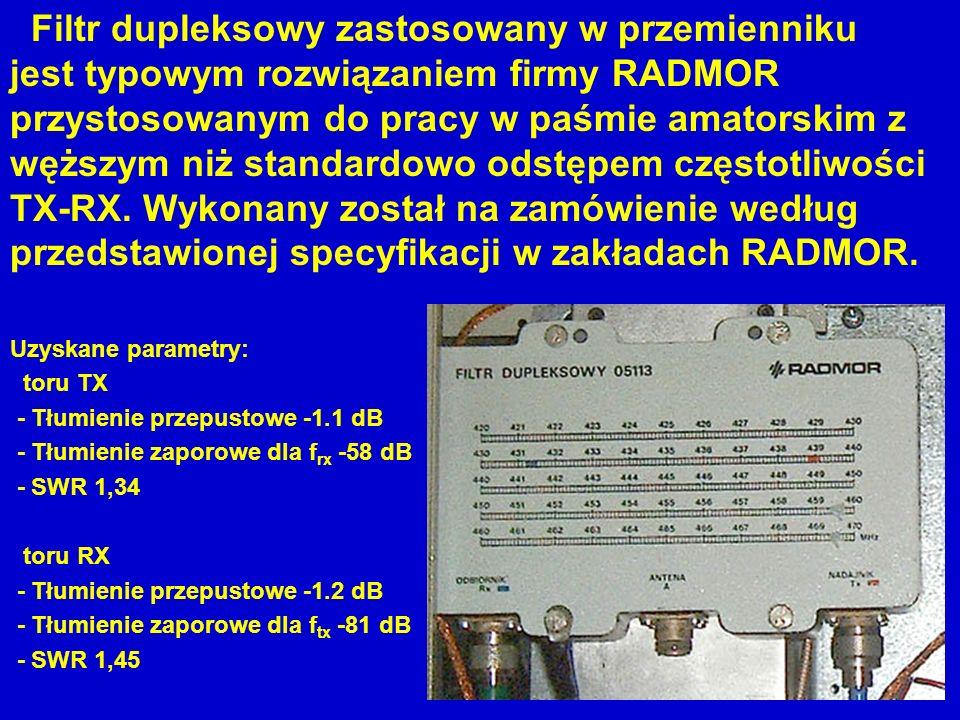 Filtr dupleksowy zastosowany w przemienniku jest typowym rozwiązaniem firmy RADMOR przystosowanym do pracy w paśmie amatorskim z węższym niż standardo