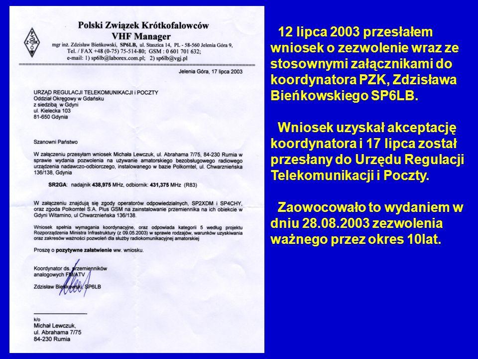 12 lipca 2003 przesłałem wniosek o zezwolenie wraz ze stosownymi załącznikami do koordynatora PZK, Zdzisława Bieńkowskiego SP6LB. Wniosek uzyskał akce