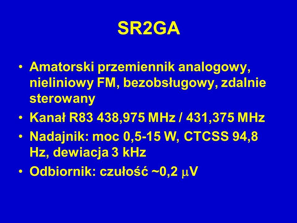 SR2GA Amatorski przemiennik analogowy, nieliniowy FM, bezobsługowy, zdalnie sterowany Kanał R83 438,975 MHz / 431,375 MHz Nadajnik: moc 0,5-15 W, CTCS