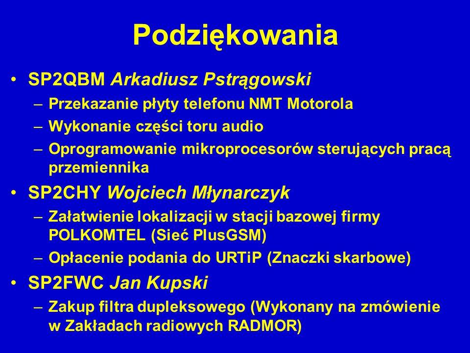Podziękowania SP2QBM Arkadiusz Pstrągowski –Przekazanie płyty telefonu NMT Motorola –Wykonanie części toru audio –Oprogramowanie mikroprocesorów steru