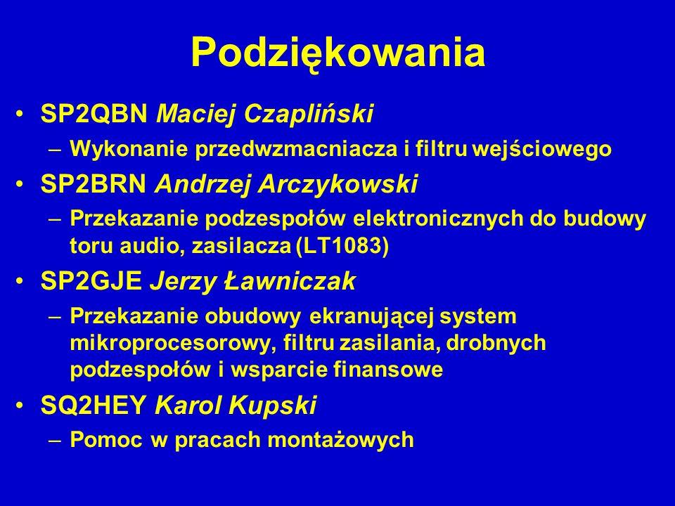 Podziękowania SP2QBN Maciej Czapliński –Wykonanie przedwzmacniacza i filtru wejściowego SP2BRN Andrzej Arczykowski –Przekazanie podzespołów elektronic