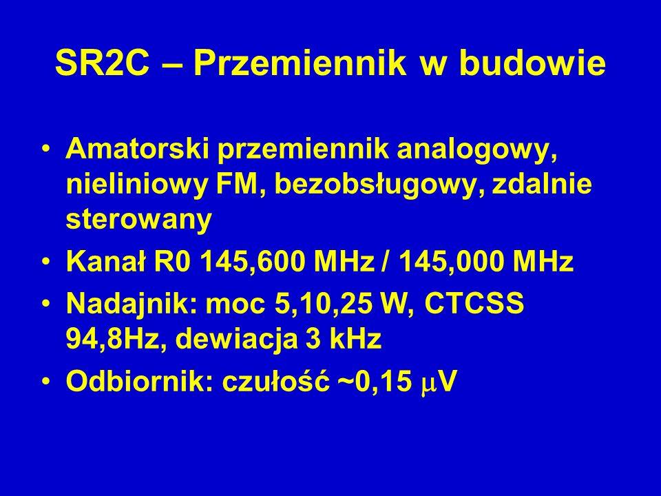 Amatorski przemiennik analogowy, nieliniowy FM, bezobsługowy, zdalnie sterowany Kanał R0 145,600 MHz / 145,000 MHz Nadajnik: moc 5,10,25 W, CTCSS 94,8