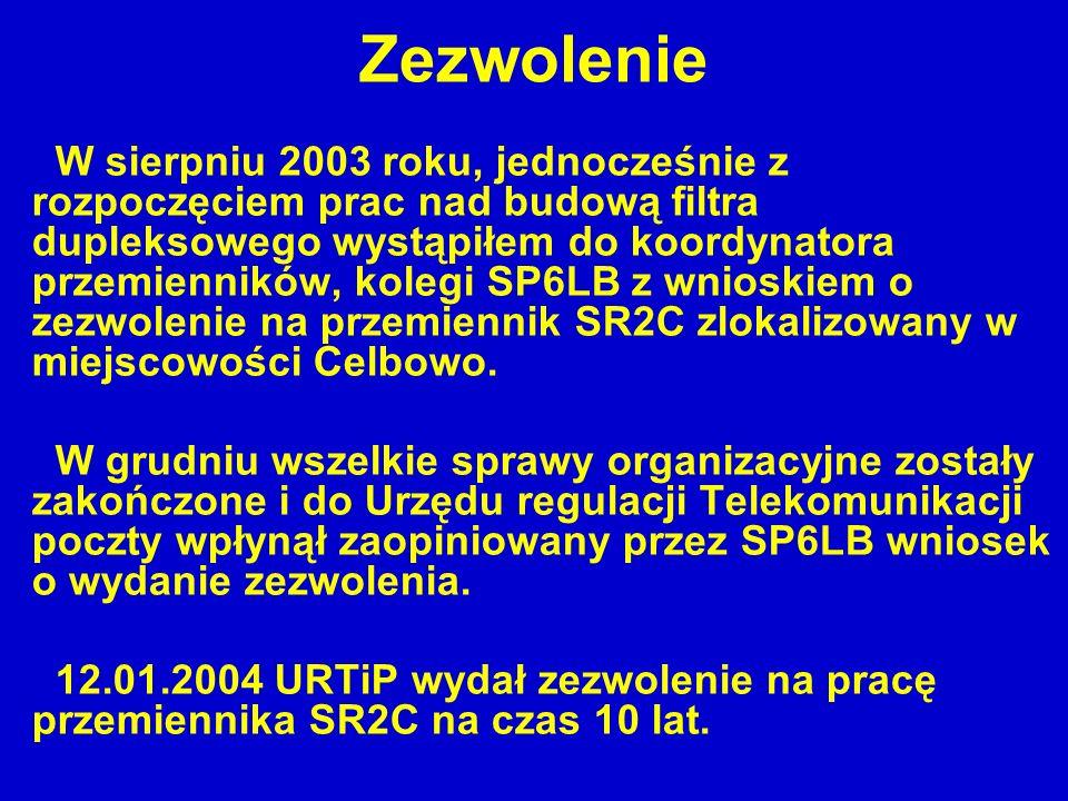 Zezwolenie W sierpniu 2003 roku, jednocześnie z rozpoczęciem prac nad budową filtra dupleksowego wystąpiłem do koordynatora przemienników, kolegi SP6L