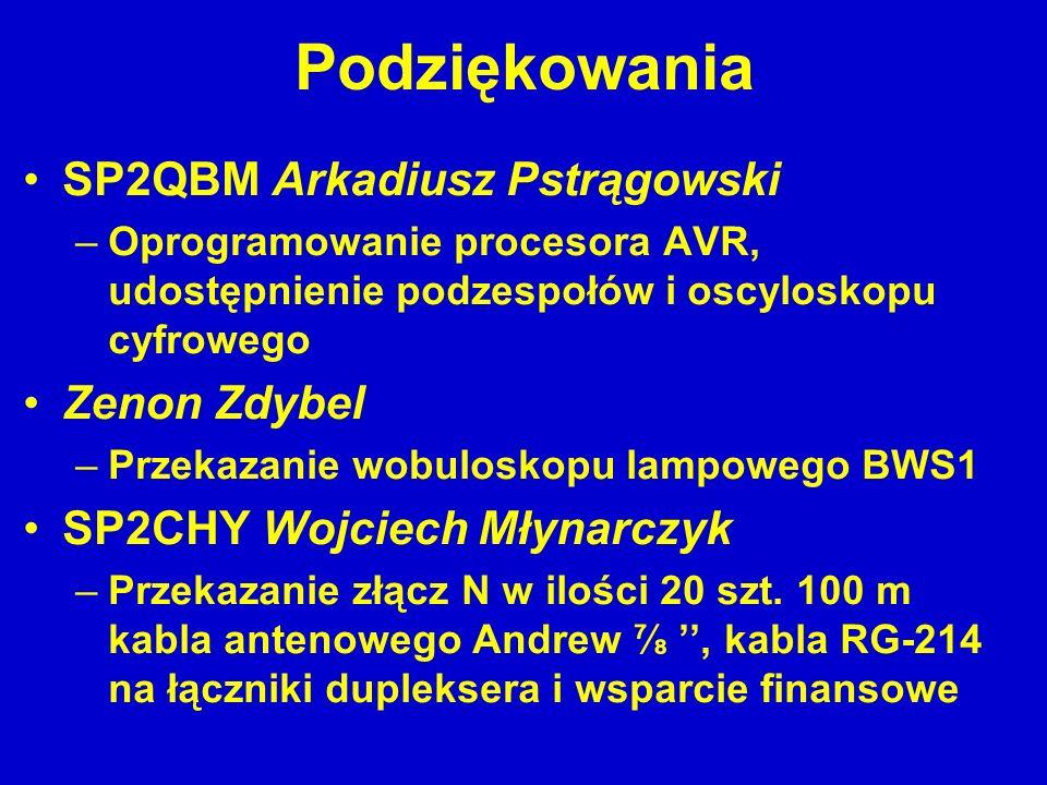 Podziękowania SP2QBM Arkadiusz Pstrągowski –Oprogramowanie procesora AVR, udostępnienie podzespołów i oscyloskopu cyfrowego Zenon Zdybel –Przekazanie