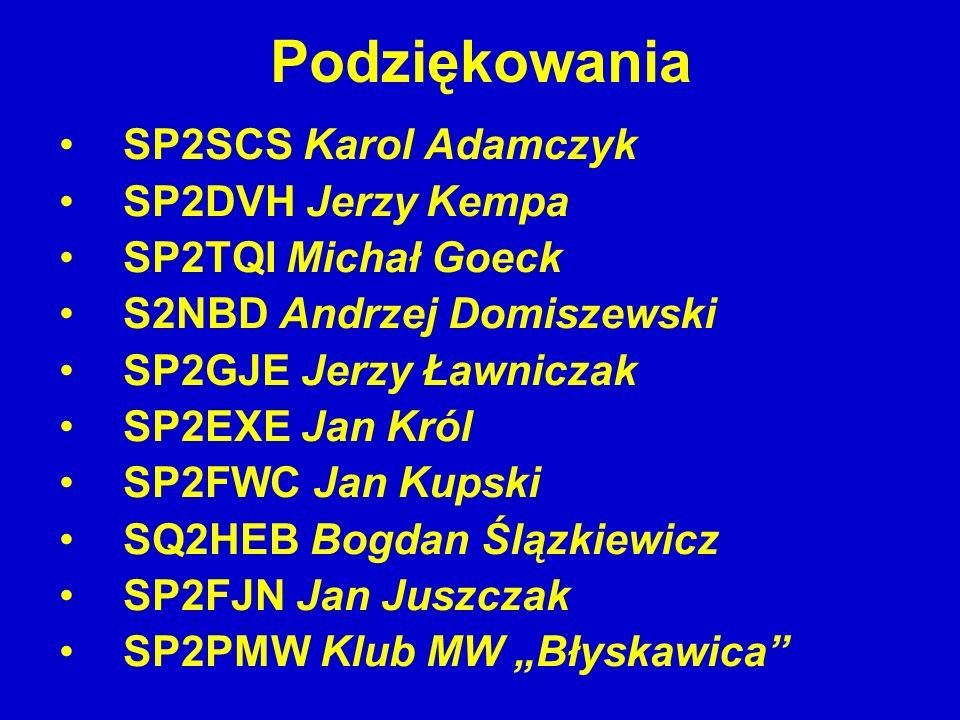 Podziękowania SP2SCS Karol Adamczyk SP2DVH Jerzy Kempa SP2TQI Michał Goeck S2NBD Andrzej Domiszewski SP2GJE Jerzy Ławniczak SP2EXE Jan Król SP2FWC Jan