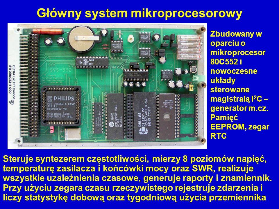 Główny system mikroprocesorowy Steruje syntezerem częstotliwości, mierzy 8 poziomów napięć, temperaturę zasilacza i końcówki mocy oraz SWR, realizuje