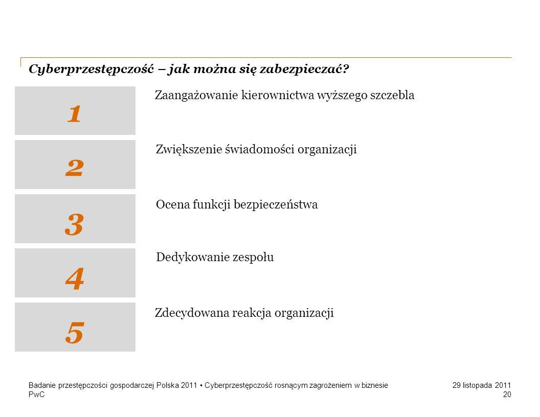PwC 29 listopada 2011 Cyberprzestępczość – jak można się zabezpieczać? Badanie przestępczości gospodarczej Polska 2011 Cyberprzestępczość rosnącym zag