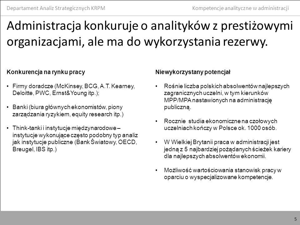 6 Kluczowe kompetencje analityczne Departament Analiz Strategicznych KRPM 6 Kompetencje analityczne w administracji Umiejętność analityczne definiowane jako zdolność krytycznego myślenia, strukturyzowania problemów, formułowania i sprawdzania hipotez oraz poszukiwania i kwestionowania rozwiązań Trudno weryfikowalne, ale mogą być z odpowiednią dozą ostrożności sprowadzone do twardych umiejętności Kwerenda na bazach danych, z wykorzystaniem takich programów jak R, SAS, Stata, Statistica czy SPSS Ekonometria i statystyka, w tym metody stochastyczne Ekonomia menadżerska Pomiar kosztów regulacyjnych Idealny analityk potrafi także jasno i zwięźle komunikować w mowie i na piśmie