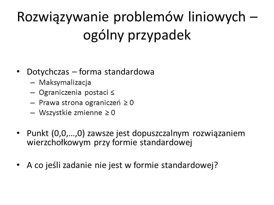 Minimalizacja 1.Przekształć w maksymalizację: – min Z = 12x 1 + 5x 2 – 7x 3 – max (–Z) = –12x 1 – 5x 2 + 7x 3 Dla przypomnienia wstaw -1 w kolumnie Z tabelki simplex Po rozwiązaniu programu liniowego w postaci max: – Pomnóż funkcję celu przez -1 – Wartości zmiennych wzięte z tabelki są właściwym rozwiązaniem 2.Drugi sposób – mniej popularny – rozwiązuj simplex w postaci minimalizacji ze zmienionymi regułami