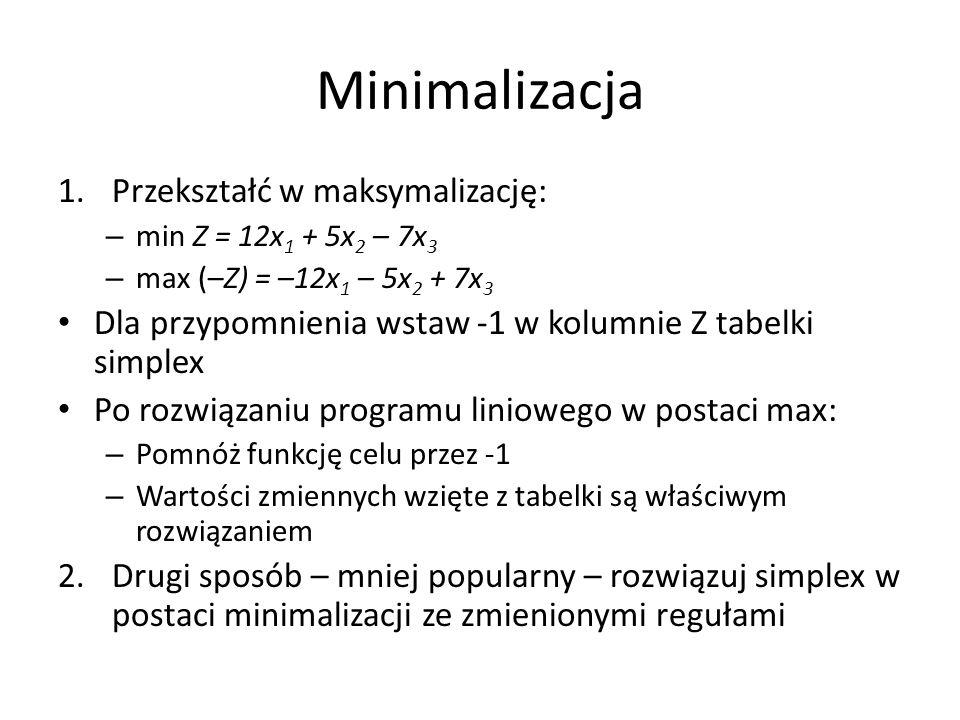 Ograniczenia w postaci równości W problemie firmy Rowerek: Wprowadzamy sztuczną zmienną a 1 [artificial variable] Sztuczna zmienna różni się od zmiennej luzu – musimy ją zmusić, aby się wyzerowała, ponieważ punkt (x 1,x 2,s 1,s 2,a 1 ) = (0,0,2,3,4) nie jest dopuszczalny.