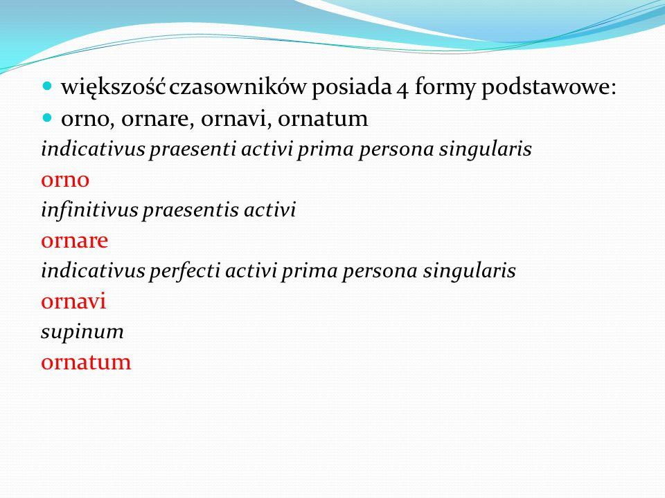 większość czasowników posiada 4 formy podstawowe: orno, ornare, ornavi, ornatum indicativus praesenti activi prima persona singularis orno infinitivus praesentis activi ornare indicativus perfecti activi prima persona singularis ornavi supinum ornatum