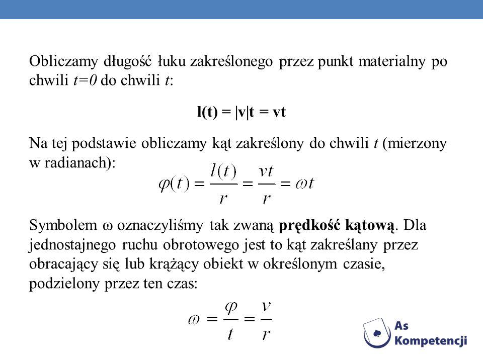 Obliczamy długość łuku zakreślonego przez punkt materialny po chwili t=0 do chwili t: l(t) = |v|t = vt Na tej podstawie obliczamy kąt zakreślony do ch