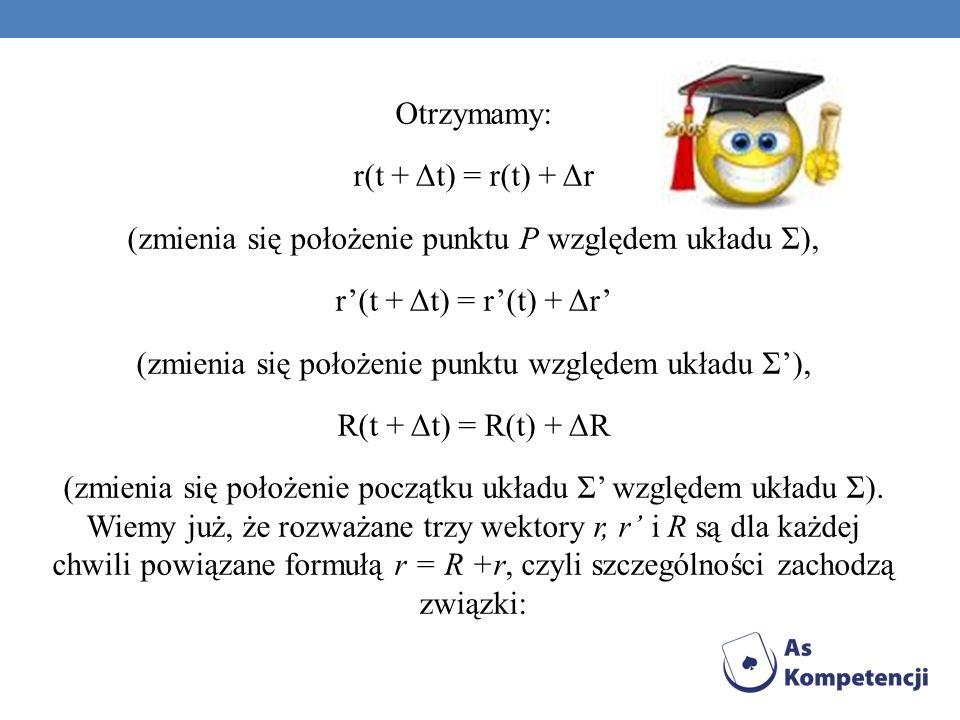 Otrzymamy: r(t + Δt) = r(t) + Δr (zmienia się położenie punktu P względem układu Σ), r(t + Δt) = r(t) + Δr (zmienia się położenie punktu względem ukła