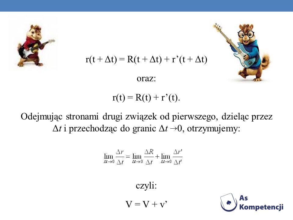 r(t + Δt) = R(t + Δt) + r(t + Δt) oraz: r(t) = R(t) + r(t). Odejmując stronami drugi związek od pierwszego, dzieląc przez Δt i przechodząc do granic Δ