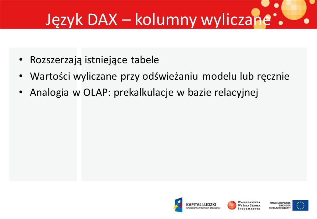 Język DAX – kolumny wyliczane Rozszerzają istniejące tabele Wartości wyliczane przy odświeżaniu modelu lub ręcznie Analogia w OLAP: prekalkulacje w ba