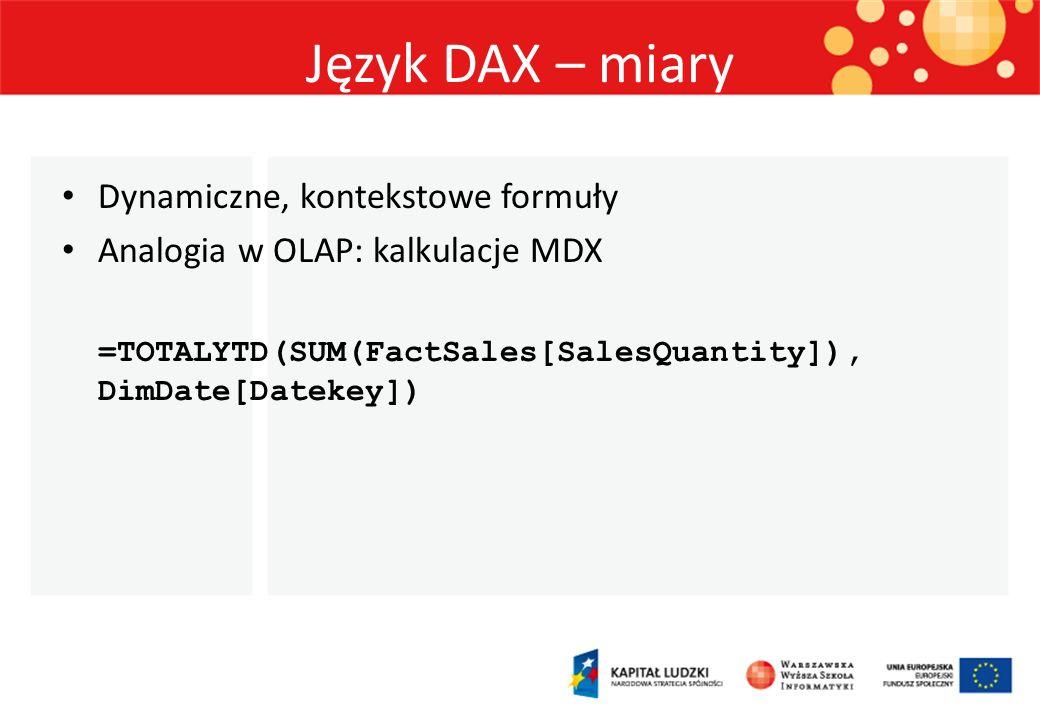 Język DAX – miary Dynamiczne, kontekstowe formuły Analogia w OLAP: kalkulacje MDX =TOTALYTD(SUM(FactSales[SalesQuantity]), DimDate[Datekey])