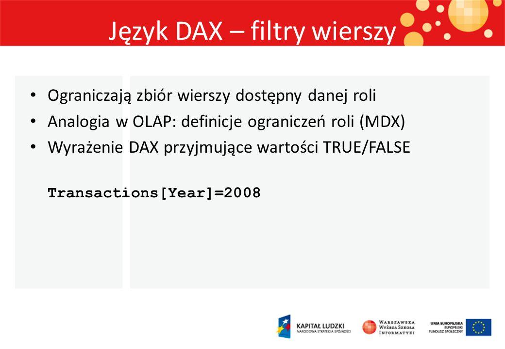 Język DAX – filtry wierszy Ograniczają zbiór wierszy dostępny danej roli Analogia w OLAP: definicje ograniczeń roli (MDX) Wyrażenie DAX przyjmujące wa