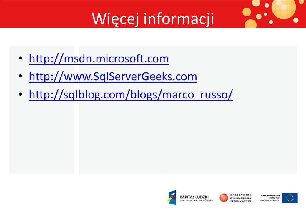Więcej informacji http://msdn.microsoft.com http://www.SqlServerGeeks.com http://sqlblog.com/blogs/marco_russo/