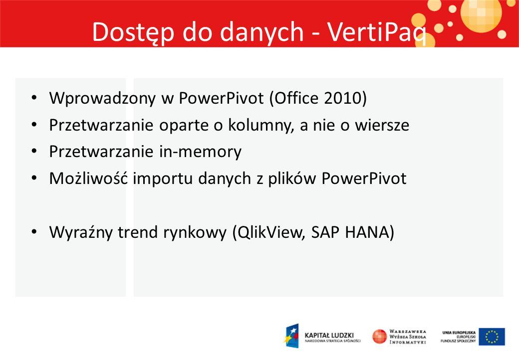 Dostęp do danych - VertiPaq Wprowadzony w PowerPivot (Office 2010) Przetwarzanie oparte o kolumny, a nie o wiersze Przetwarzanie in-memory Możliwość i