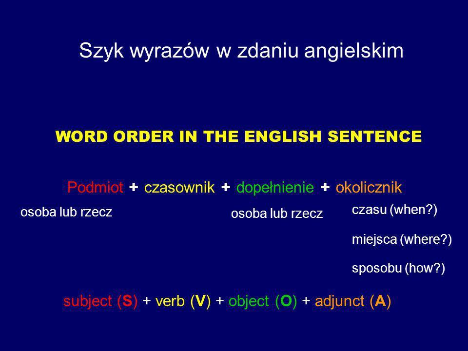 Szyk wyrazów w zdaniu angielskim WORD ORDER IN THE ENGLISH SENTENCE Podmiot + czasownik + dopełnienie + okolicznik subject (S) + verb (V) + object (O) + adjunct (A) osoba lub rzecz czasu (when?) miejsca (where?) sposobu (how?)