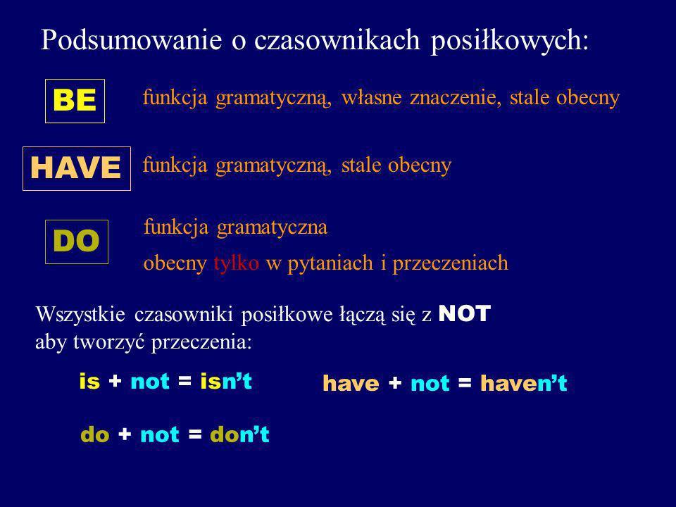 A czasownik DO? DO They speak English. Do they speak English? Ten czasownik także pełni tylko funkcję gramatyczną, ale... jest obecny w zdaniu TYLKO w