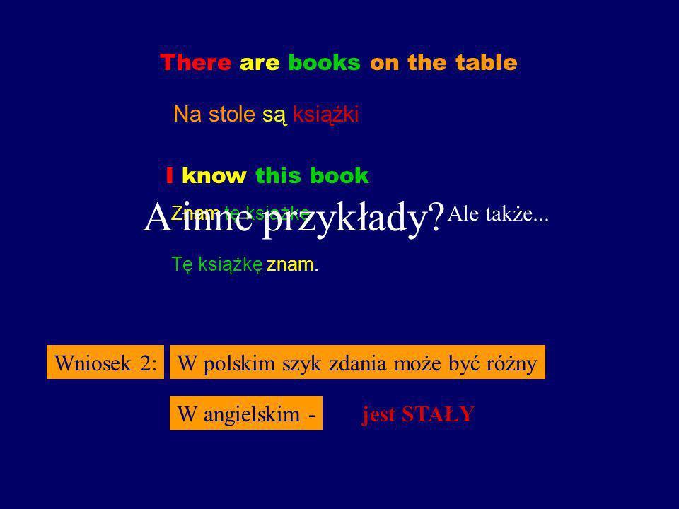 There are books on the table Na stole są książki Wniosek 2:W polskim szyk zdania może być różny W angielskim -jest STAŁY I know this book Znam tę książkę Ale także...