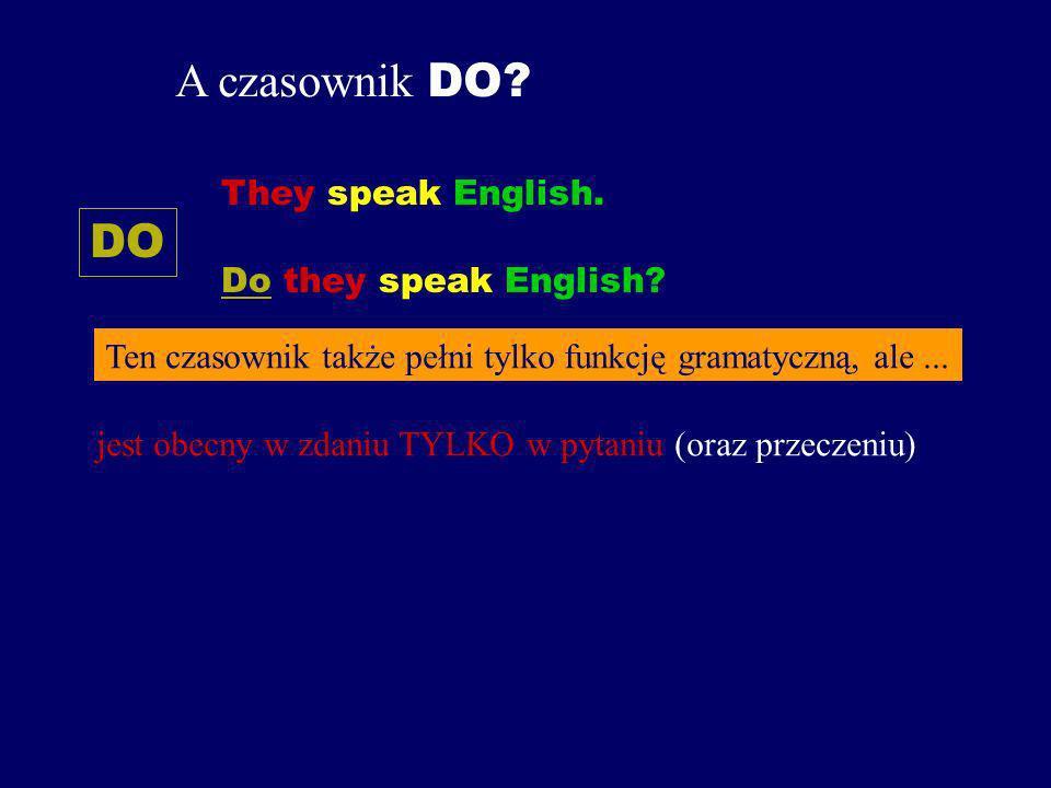 A czasownik DO.DO They speak English. Do they speak English.