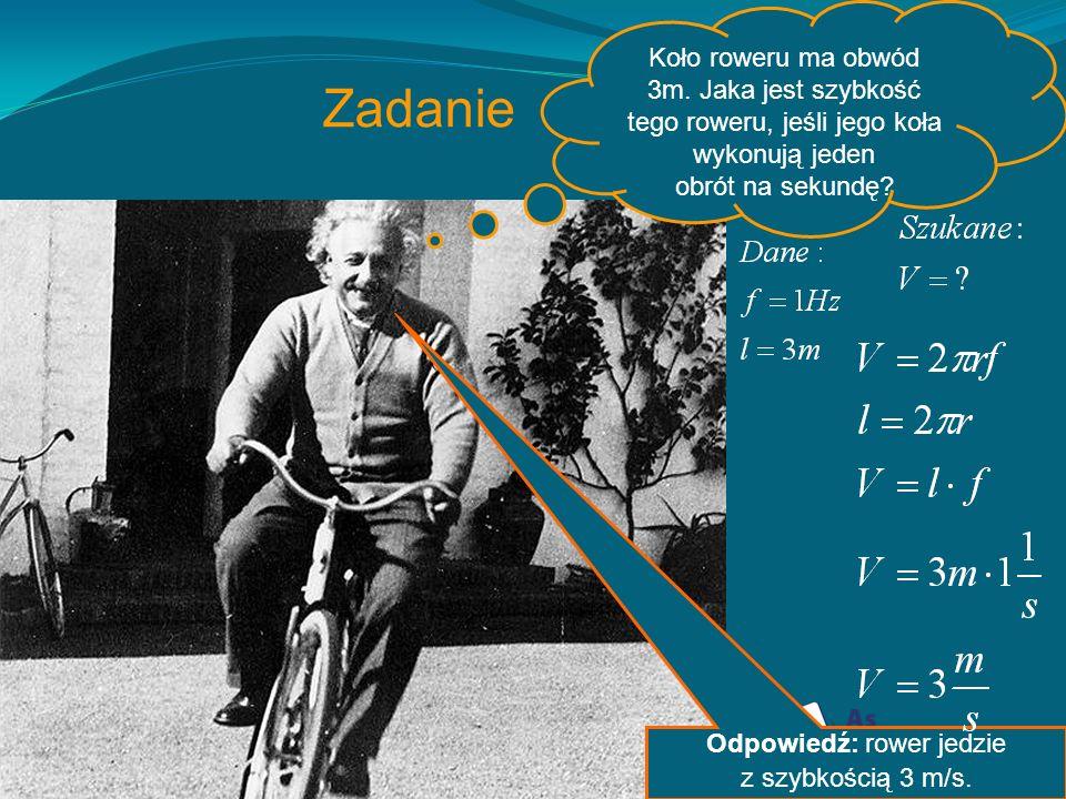 Wielkości fizyczne opisujące ruch po okręgu Okres (T)- jest to czas, w ciągu którego ciało pokonuje całą długość toru- czyli obwód koła Częstotliwość