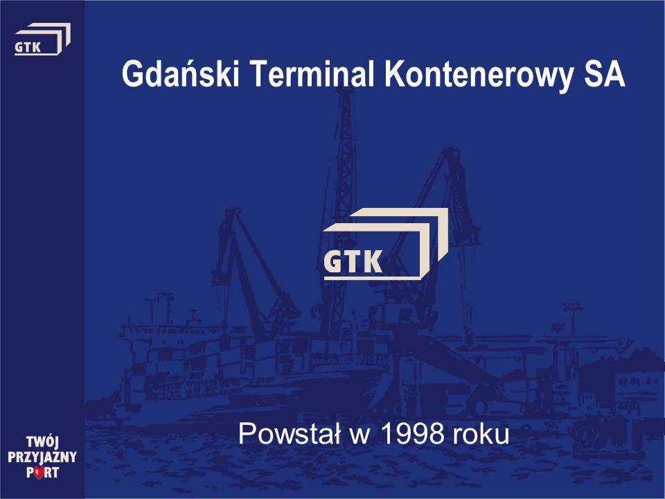 Gdański Terminal Kontenerowy SA Powstał w 1998 roku