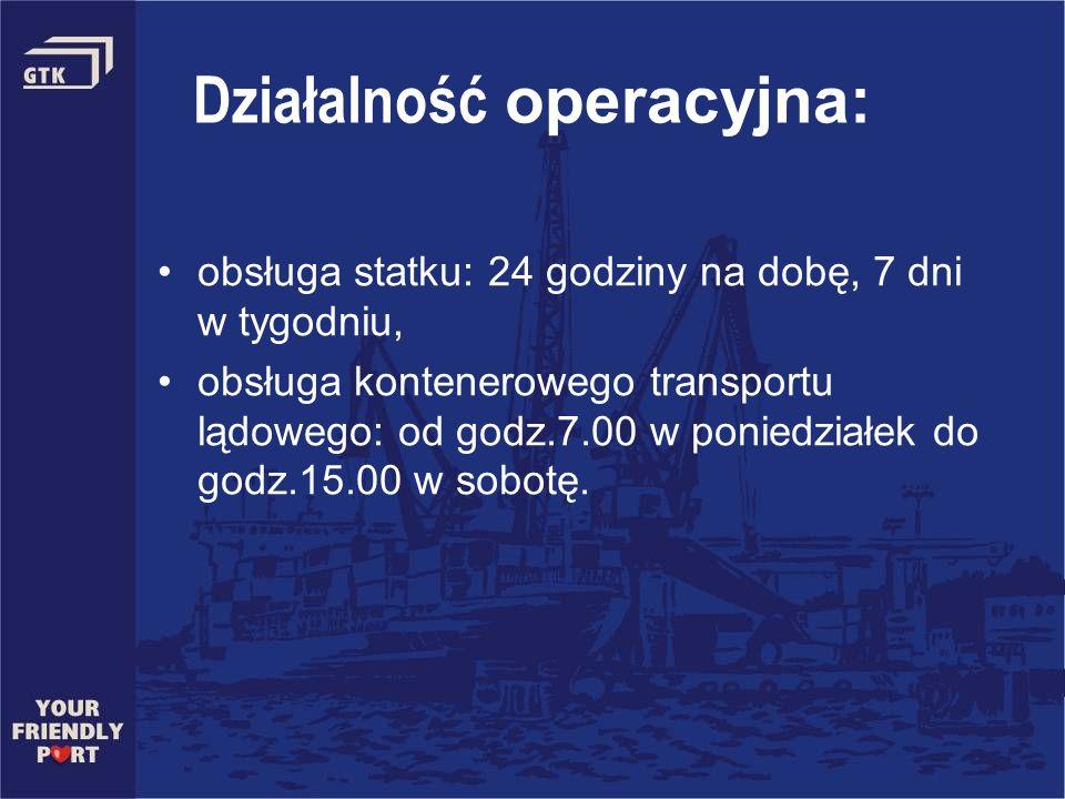 Działalność operacyjna: obsługa statku: 24 godziny na dobę, 7 dni w tygodniu, obsługa kontenerowego transportu lądowego: od godz.7.00 w poniedziałek d