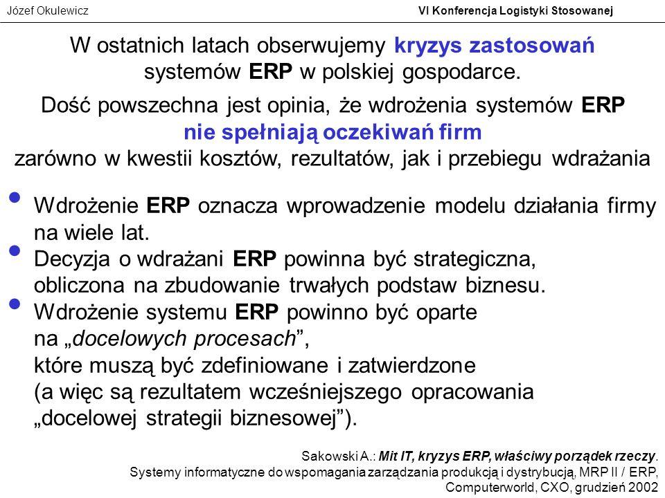 Józef Okulewicz VI Konferencja Logistyki Stosowanej W ostatnich latach obserwujemy kryzys zastosowań systemów ERP w polskiej gospodarce. Dość powszech