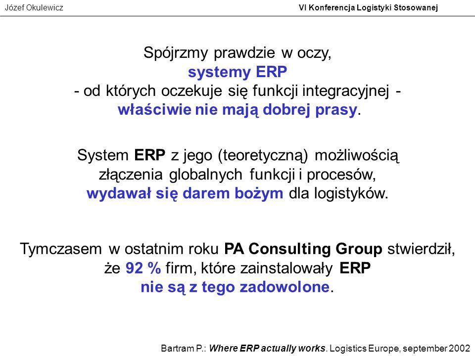 Józef Okulewicz VI Konferencja Logistyki Stosowanej Spójrzmy prawdzie w oczy, systemy ERP - od których oczekuje się funkcji integracyjnej - właściwie